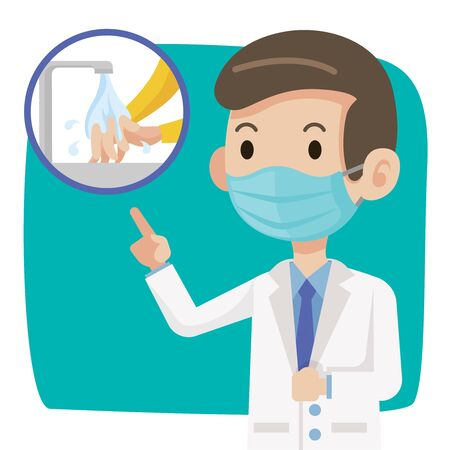 Doctor wearing protective surgical mask and advise people to wear surgical mask to stay clean and protect against virus - vector character Çizim