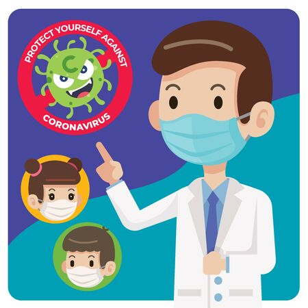 Doctor wearing protective surgical mask and told people to wear surgical mask to protect against virus coronavirus Covid-19