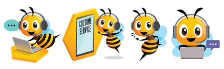 Cartoon cute bee mascot set. Smiling bee operator with headset working at call centre and communicating with customer. Customer service concept Çizim