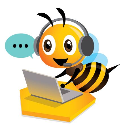 Cute bee customer service operator with bubble talk. Cute bee wearing headset using computer laptop for customer support