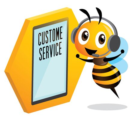 Cute bee customer service operator. Cute bee wearing headset and stay beside LED touch screen standee. Cute bee customer support