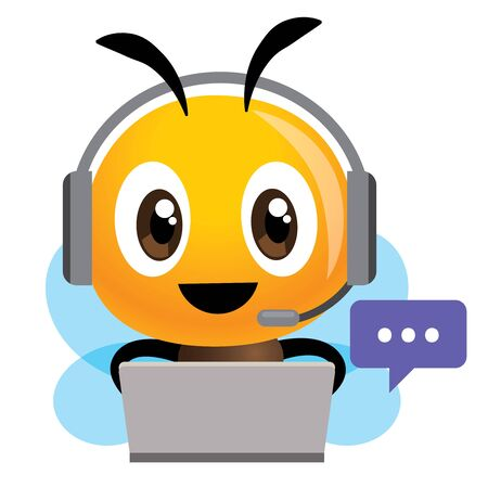 Smiling bee operator with headset working at call center communicating with customer. Customer service concept. Çizim