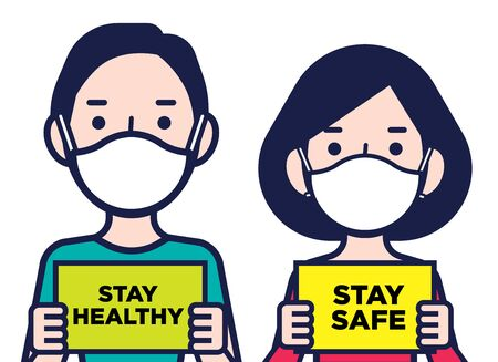 Coronavirus disease public awareness. Woman and man wearing protective surgical masks holding a Stay Safe and stay healthy signboards Çizim
