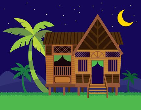 Beautiful Traditional Malay village house / Rumah Kampung Melayu with coconut trees in night scene background