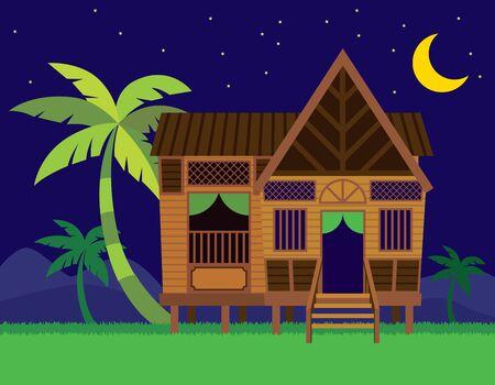 Schönes traditionelles malaiisches Dorfhaus / Rumah Kampung Melayu mit Kokospalmen im Nachtszenenhintergrund