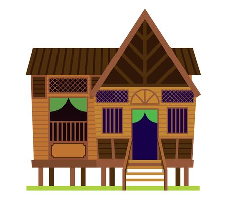 Malay vintage house. Traditional Village Malay House / Rumah Kampung Melayu in Malaysia. Vector Illustration isolated