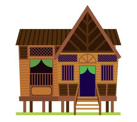 马来葡萄酒房子。传统村庄Malay House / Rumah Kampung Melayu在马来西亚。被隔绝的传染媒介例证