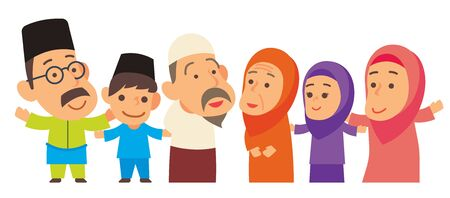 Happy Muslim family from grandparent, parents, son and daughter. Malay family stay together happily Çizim