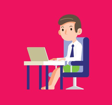 Work from home. A businessman stay at home and working with his notebook at the workplace. A young man wearing short pant when work from home. - vector character