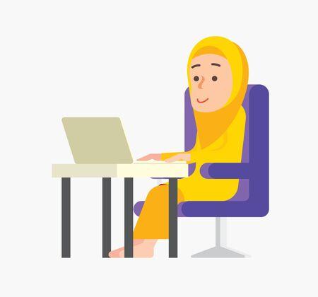 Work from home. Muslim woman doing Bazaar Ramadan online business during social distance order. Muslim lady work from home. Çizim