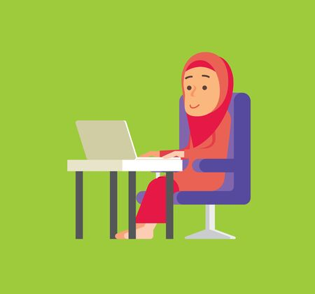 Work from home. Muslim woman doing online business during social distance order. Malay woman work from home - vector Çizim