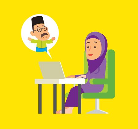 Social Distance. Muslim woman stay connecting with family trough social media with laptop. Malay woman online meeting with client with notebook on desk. Work from home.