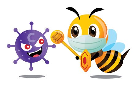 Cute bee wearing surgical mask to protect against coronavirus. Cute bee holding shield and honey dipper to fight with coronavirus, covid-19 - Vector character Çizim