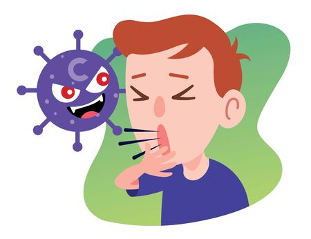 Cartoon coronavirus is attacking the male who cough seriously. Young man infected virus - vector character