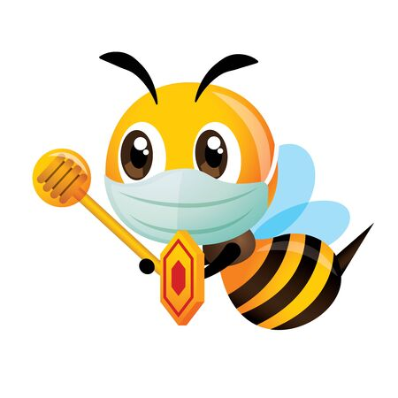 Cartoon cute bee wearing surgical protective mask holding shield and honey dipper to protect against virus and bacteria - vector character Çizim