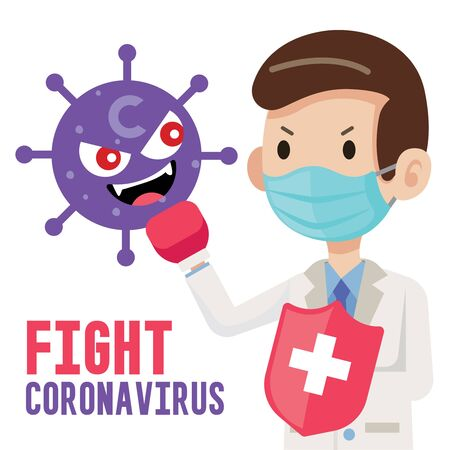 Fight coronavirus COVID-19. Doctor wearing surgical protective mask and holding shield to fight against cartoon virus character. Coronavirus outbreak. Flat vector illustration Çizim