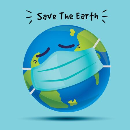Save the earth. Sickness earth is wearing surgical protective face mask in Covid-19 Pandemic Outbreak. Blue Planet is sick after global health crisis