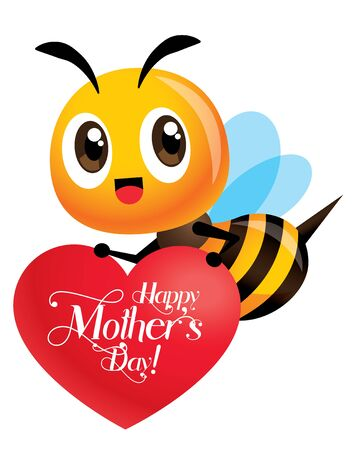 Happy Mother's Day. Cartoon cute bee carrying a red LOVE heart signboard with greeting lettering