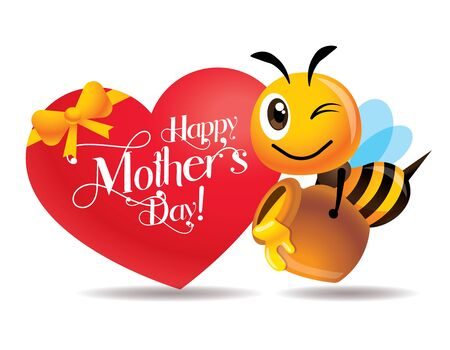 Happy Mother's Day. Cartoon cute bee carrying a honey pot as gift with big red heart signage with lettering