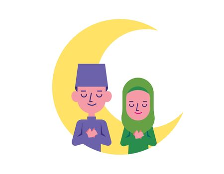 Hari Raya Aidilfitri. Muslim man and woman thankful together with hands on chest. Malay couple blessing with big moon background - vector character Çizim