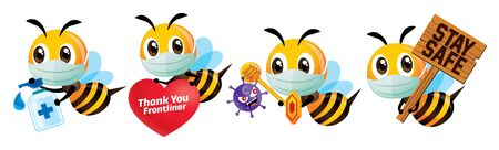 Stay healthy. Cartoon cute bee in set wearing protective mask and fight against coronavirus, bee thank you to Frontliners, use hand sanitizer and holding stay safety signboard - vector character set