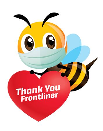 Stay healthy and fight coronavirus. Cartoon cute bee wearing protective face mask holding a heart shape signage with Thank you Frontliners lettering - vector character Çizim