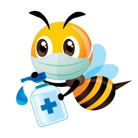 Stay healthy. Cartoon cute bee wearing protective mask is educating people to use sanitizer to clean their hands to protect against virus or coronavirus - vector character