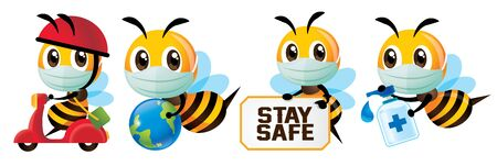 Cartoon cute bee global health awareness against virus in set. Cute bee wearing protective face mask for delivery, holding globe, holding stay safe signage, holding hand sanitizer - vector character Çizim