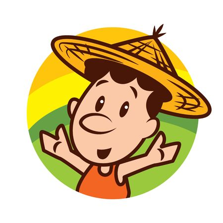 Cartoon cute farmer character wearing farmer straw hat with welcome hands on nature round background - vector character