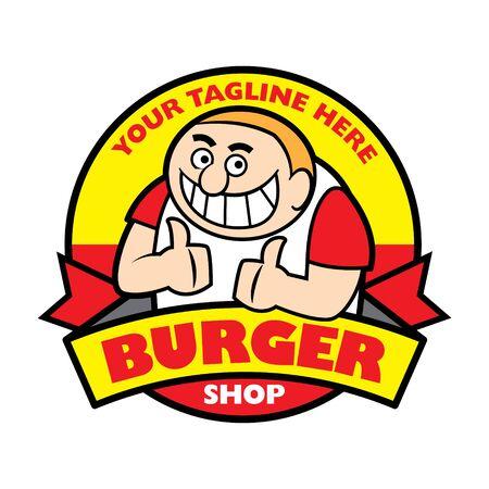 Burger shop business with shop name. Cartoon smiling fat man with big teeth show 2 big thumb ups - Vector mascot character
