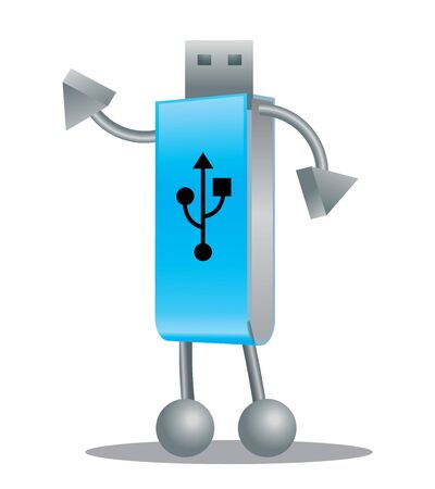Cartoon USB robotic character with hands and legs - vector character