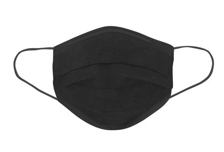 Protective face mask. Disposable earloop 3-layer face mask in black colour for protect against virus and bacteria - image Stok Fotoğraf