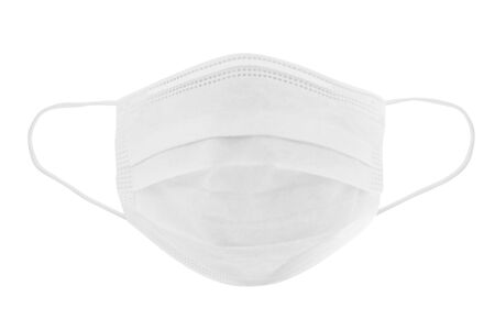 Protective face mask. Disposable earloop 3-layer face mask in white colour for protect against virus and bacteria. - image