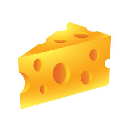 Golden colour Swiss cheese vector illustration Ilustração Vetorial