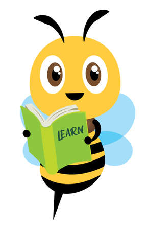 Cartoon cute happy bee mascot carrying a green learning book.