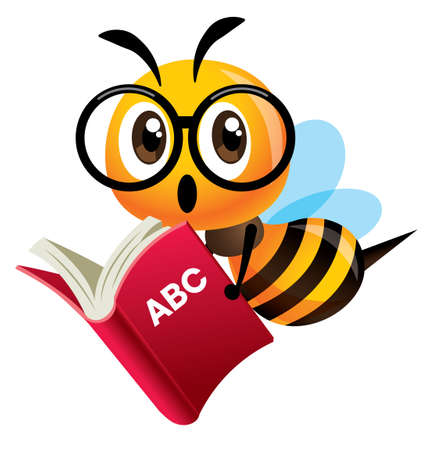 Cartoon cute bee with big glasses mascot carrying a red study book. Bee back to school - Vector character