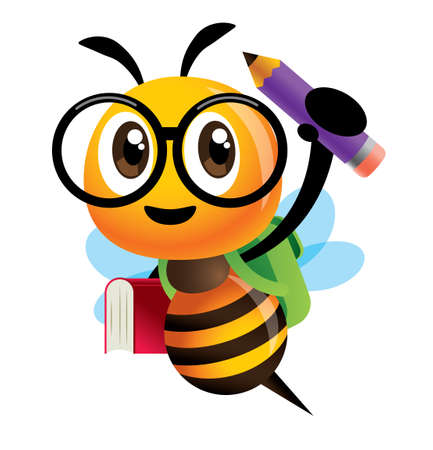 Back to school. Cartoon cute bee character carrying school bag, book and pencil and ready for school with smile. - vector Иллюстрация