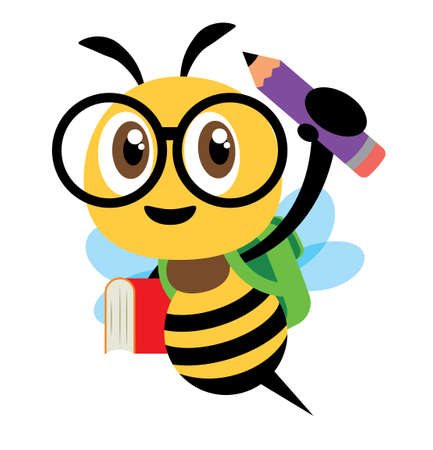 Back to school. Cartoon cute bee character carrying school bag, book and pencil and ready for school with smile.- Flat art vector