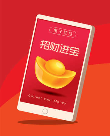 Chinese New Year E-Red packet money through mobile app. E-wallet money payment. Collect money. Translation: E-wallet. Wishing wealth comes to you!