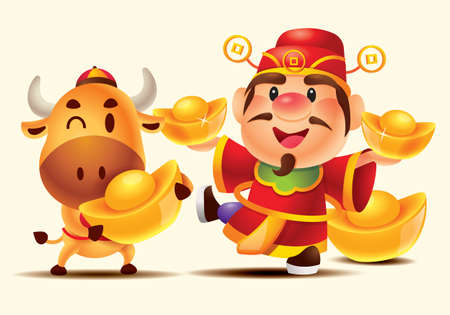 Cartoon Cute God of Wealth (Caishen) and cute cow holding big Gold ingots.