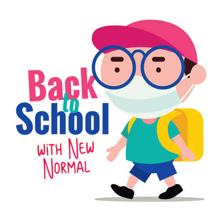Back to school with new normal during Pandemic. Kid wearing protective surgical mask back to school to prevent virus.