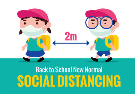 New normal Back to school during Pandemic. Cute kids wearing face masks and keep social distancing to prevent against coronavirus 2019.