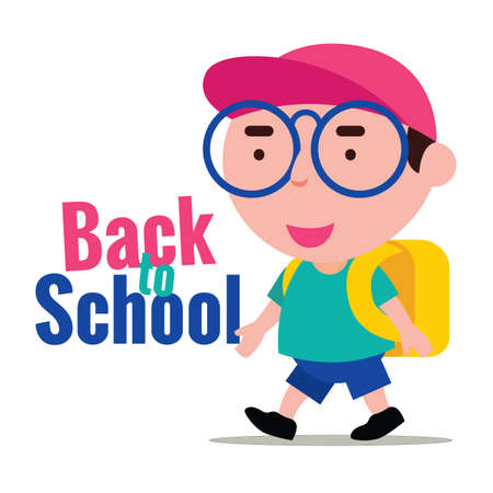 Back to school. Cartoon cute kid with red cap and carry school and ready back to school after holiday Ilustracja