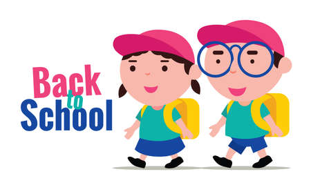 Cute school kids back to school. Boy and girl wear school uniforms and back to school happily. Ilustracja