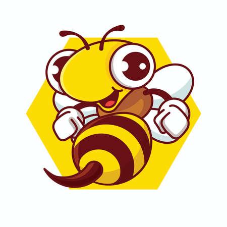 Cartoon happy bee with sharp stinger holding fists Vektorové ilustrace