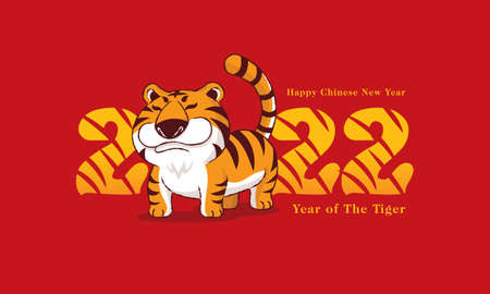 Happy Chinese New Year 2022. Year of the Tiger. Cartoon chubby tiger with 2022 title on red background. Vetores