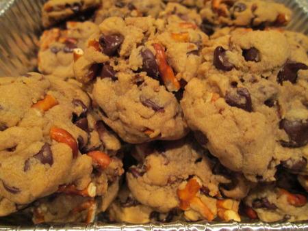 chocolate chip cookies: Chocolate Chip Pretzel Cookies Stock Photo