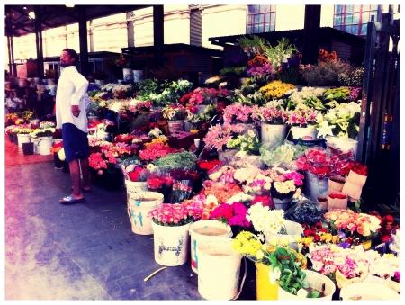 flower seller: Flower seller at the market