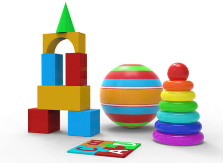 childrens toys of simple shape, ball, pyramid 3d-illustration 3d-rendering Banque d'images