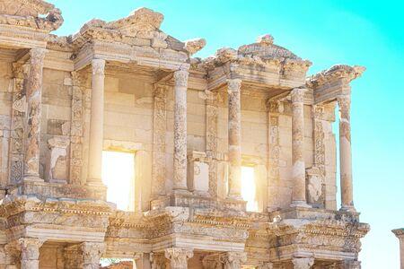 Facade of library of Celsus in Ephesus, Turkey.